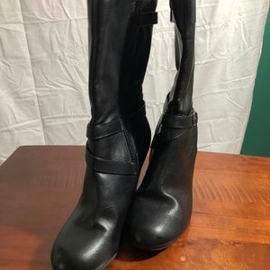 Shoes - Black Over The Calf Boots